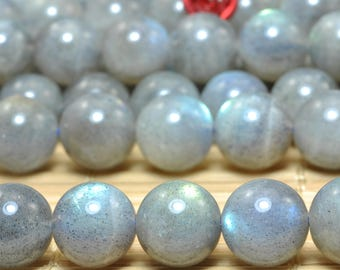 44 pcs of A A Grade--Natural Labradorite smooth round beads in 9mm (06788#)