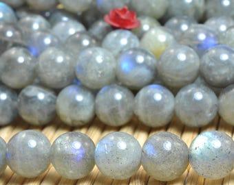 47 pcs of Natural Labradorite smooth round beads in 8mm (06941#)