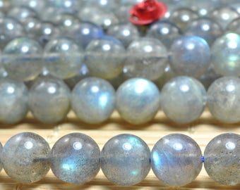 47 pcs of  A A Grade--Natural Labradorite smooth round beads in 8mm (05078#)