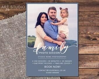 Family Portrait Photo Session / mini session template for Photographers 7x5