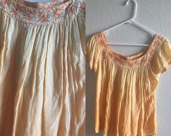 vintage 90's YELLOW OMBRE PEASANT top - small, medium, Passport by Pier 1