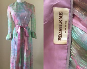 vintage 60's/70's PASTEL PARTY DRESS by Richilene - extra small, small, couture