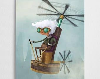 Grandma art print, steam punk illustration // Thopter Granny