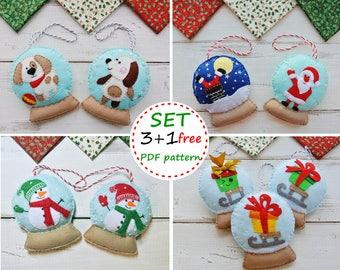 Felt SnowGlobe, SnowGlobe Patterns, Felt Patterns, Felt Сhristmas Ornament Patterns, Felt Сhristmas Tree, Felt Santa, Felt Snowman