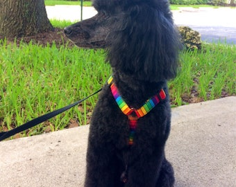 Toy, Mini, or Small Rainbow Dog Harness made with Comfy Cotton Fabric, Adjustable