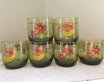 6 Vintage GreenJuice Glasses Poinsettia & Holly Berries