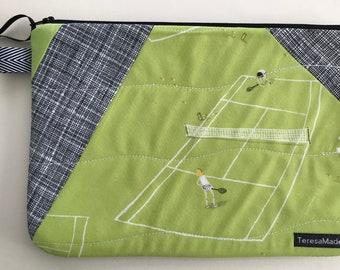 Large Patchwork Tennis Zip Pouch