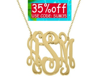 "Any initial 18k Monogram necklace - personalize gold monogram necklace 1"" gold plated 18k on .925 silver"