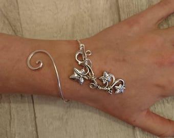 Silver Ivy vine leaf bracelet, elven cuff, wedding gift bangle