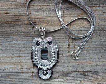 Silver Pendant Soutache !! pendente soutache, pendentif soutache