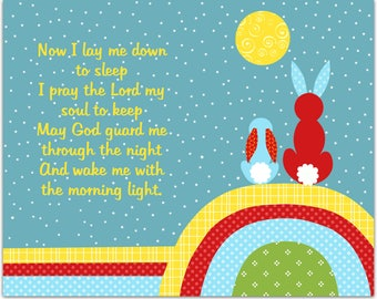Nursery Prayer, Bedtime Prayer, Religious Nursery Art, Now I Lay Me Down To Sleep, Childrens Decor, Rabbits, Bunnies, Prayer Canvas Print