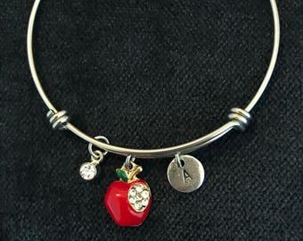 Apple Initial Bangle Apple Initial Bracelet Teacher Gift
