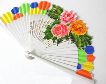 Hand Fans, hand fan, Abanico,  white, handpainted