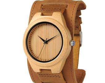 sportive wooden watch, men wood watch, men's watch, naturel brown dial