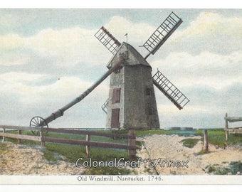 Vintage Postcard  - Old Windmill - Nantucket 1746 - Wyer's Art Store