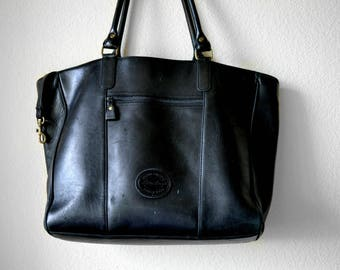 Large Vintage Eddie Bauer Tote Bag - Black Leather