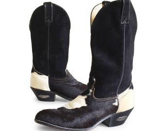 Vintage Ladies Cowboy Boots made by Code West in Black Suede and Cowhide Hair / 1980s Boho Fashion Cowgirl Western Boots Size 7 to 7.5