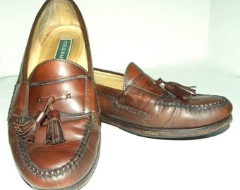Men's Vintage COLE HAAN Tassel Loafers / Brown Leather Men's Dress shoes / MEN size 12 D