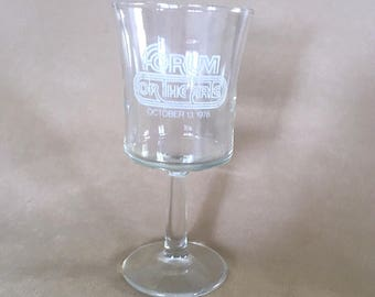 Vintage 70's Clear Forum for the Arts Commemorative Wine Glass, Forum for the Arts Collectors Glass Collectible Stemware Barware Mid Century