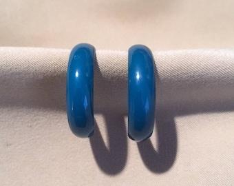 Vintage 80's Large Hoop Earrings, Teal Enamel Open Hoop Post Earrings, Large Metal Painted Hoops Bold Statement Fashion Jewelry Gift for Her