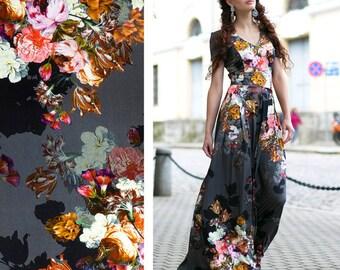 Maxi Dress, Floral Dress, Bridesmaid Dress, Women Dress, Flower Dress, Evening Dress, Elegant Dress, Plus Size Maxi Dress, Long Dress