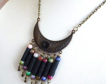 Multicolor textile necklace, beads for fabric, bronze hook and jade