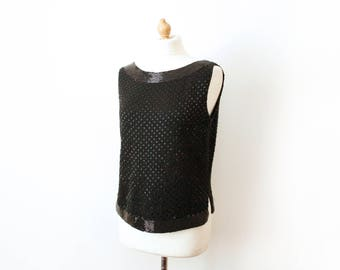 Vintage Beaded Shift Top 1950s 1960s Retro Sleeveless Woollen Embellished Evening Glamorous Party Knitted Blouse Sweater Tank
