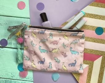 Dinosaur bag, Dinosaur purse, dinosaur pouch bag, dino pouch, colourful dinosaur purse, pom pom gift