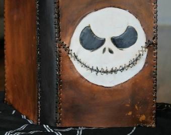Jack Skellington inspired leather book cover