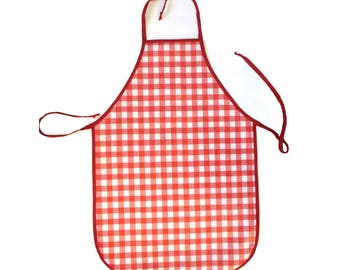 Kid's red and white checkered print apron
