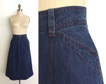 vintage 1960s skirt   60s red stitch denim skirt