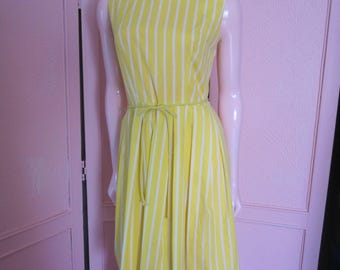 "1950s Yellow and White Striped Cotton Sleeveless Dress by ""Carol Brent,"" Size 6"