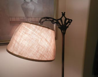 Wrought Iron Floor Lamp with BurLap UNO Shade