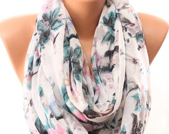 Bird Dragonfly Floral Print White Scarf Women Accessories Spring Fashion Infinity Scarf Coverups Scarves Cowls Pareo Gift Ideas For Her