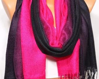 Black Purple Fuchsia Scarf Shawl Fall Winter Fashion Holiday Fashion Hijab Turban Fringed Shawl Scarf Women's Fashion Accessories Gift Ideas