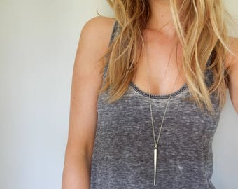 Silver Long Dagger Necklace   Long Pendant Necklace Long Necklace   Minimal Necklace   Silver Spike   Gifts for her    Dagger Necklace