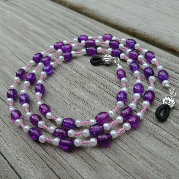 Purple and Pink Eyeglass Chain, Purple Beaded Chain for Glasses, Pink Frames Glasses Accessory