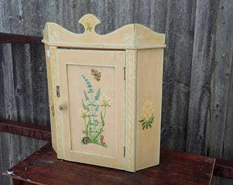 Vintage Painted Shabby Chic Wall Corner Cupboard.