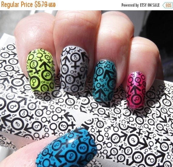 On sale male female symbol nail art decals mff full nail like this item prinsesfo Choice Image