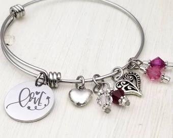Love Adjustable Bangle Charm Bracelet, valentine, pink, red, hearts, be mine, my love, engraved, customizable