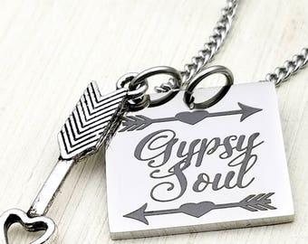 Gypsy Soul pendant necklace ,bohemian, hippie, boho, gypsy