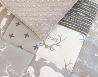 Grey Woodland Little Man Baby Blanket - Patchwork Style - Scandi Nursery - Scandinavian - White Grey - Cot Bedding - Wild and Free