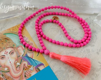 Pink Mala Beads | Pink Tassel Necklace | 108 Mala Beads in Pink Magnesite | Prayer Beads