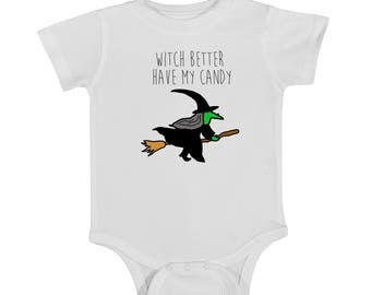 HALLOWEEN onesie, WITCH better have my candy, funny onesie, baby onesie, newborn onesie, halloween baby, newborn onesie, halloween newborn