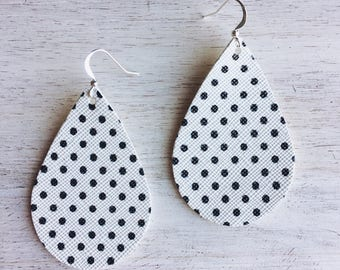 White with Black Polka Dots VEGAN Leather Statement Earrings