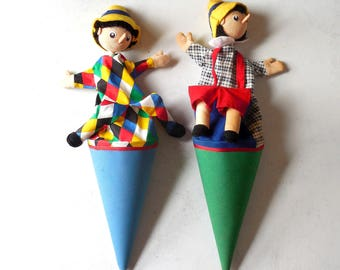 "Vintage cone puppets 'pop up' Pinocchio style clown puppets on a stick- 21/22"" vintage toys - Set of Two #0697"