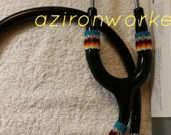 Native American beaded MDF stethoscope. Available in any colors