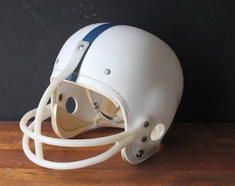 Vintage Hutch Youth Football Helmet, Blue & White Helmet, Youth 637 Hutch Helmet, Sports Memorabilia