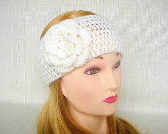 Ear warmer Crochet headband headwrap Winter headband Womens head band Crochet head wrap with flower Hand crochet earwarmer Christmas gift