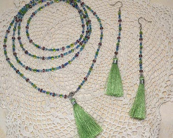 Green Tones Tassel Necklace and Earrings Set